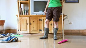 Woman cleaning mold from her Virginia home after a flood